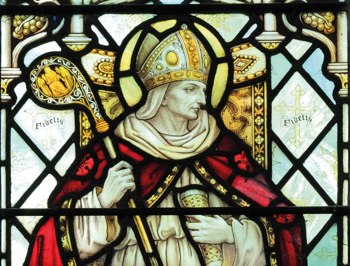 Archbishop Theodore of Canterbury, from St. Nicholas Church, Blakeney, Norfolk, 1900 © Neil Holmes/Bridgeman Images.