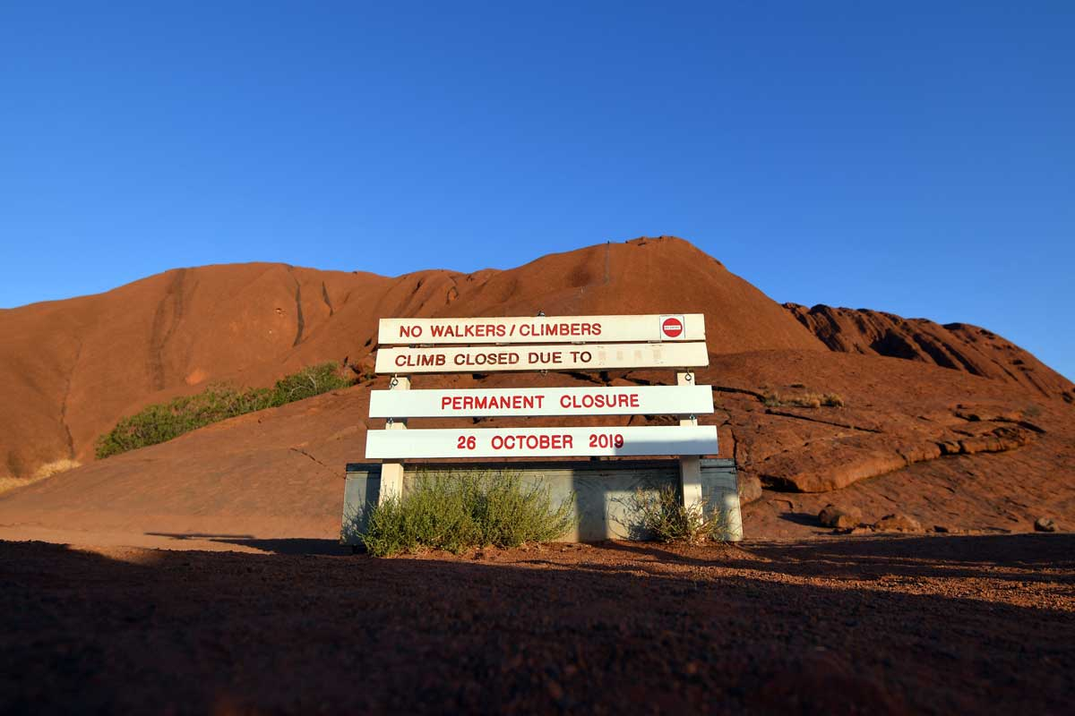The new sign marking the permanent ban on climbing Uluru © Saeed Khan/AFP/Getty Images.