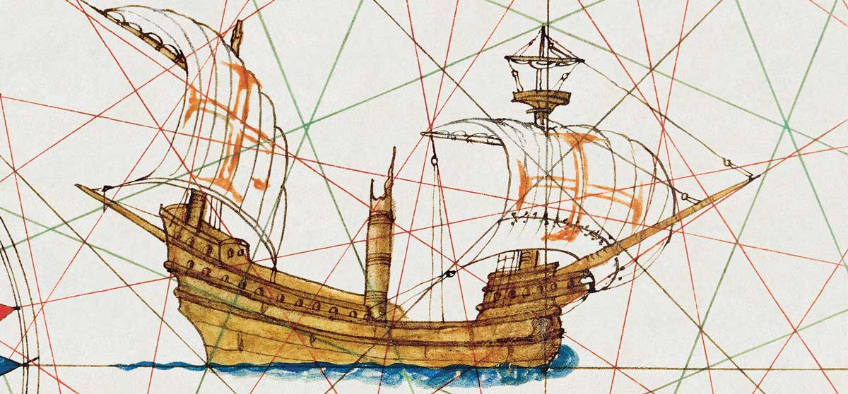 Caravel from 'Atlas of Lázaro Luis (detail), 1563. Bridgeman Images.