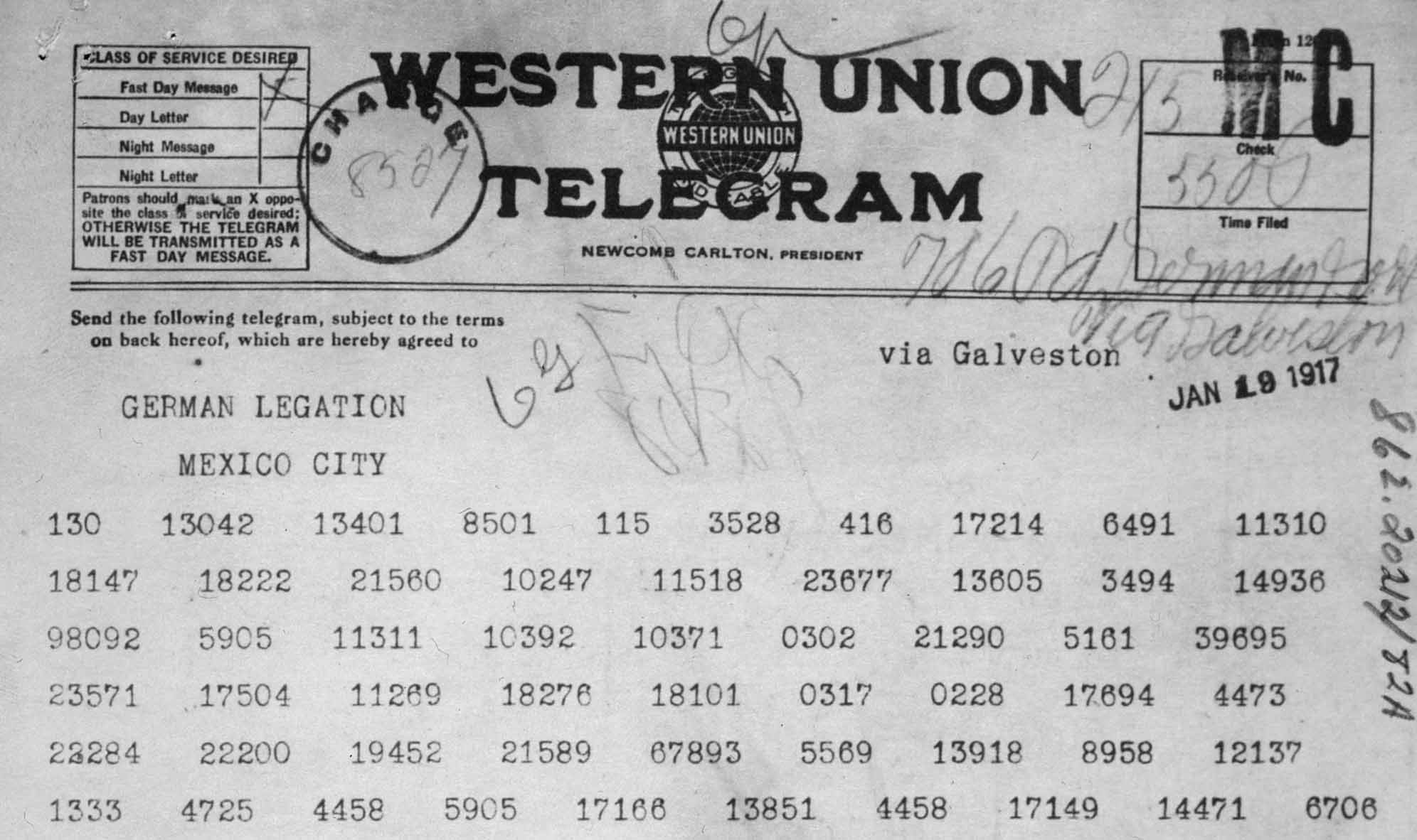 Zimmermann Telegram as Received by the German Ambassador to Mexico (detail)
