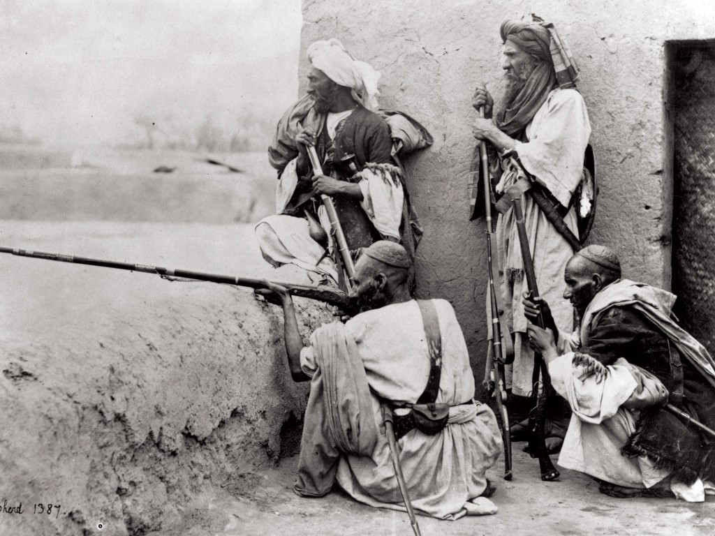 A group of armed Afghans in the Khyber Pass, c.1910.