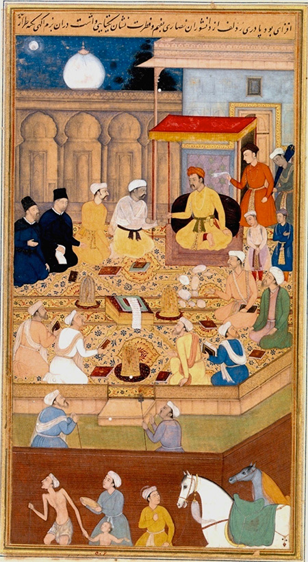 Akbar holds a religious assembly of different faiths in the Ibadat Khana in Fatehpur Sikri.