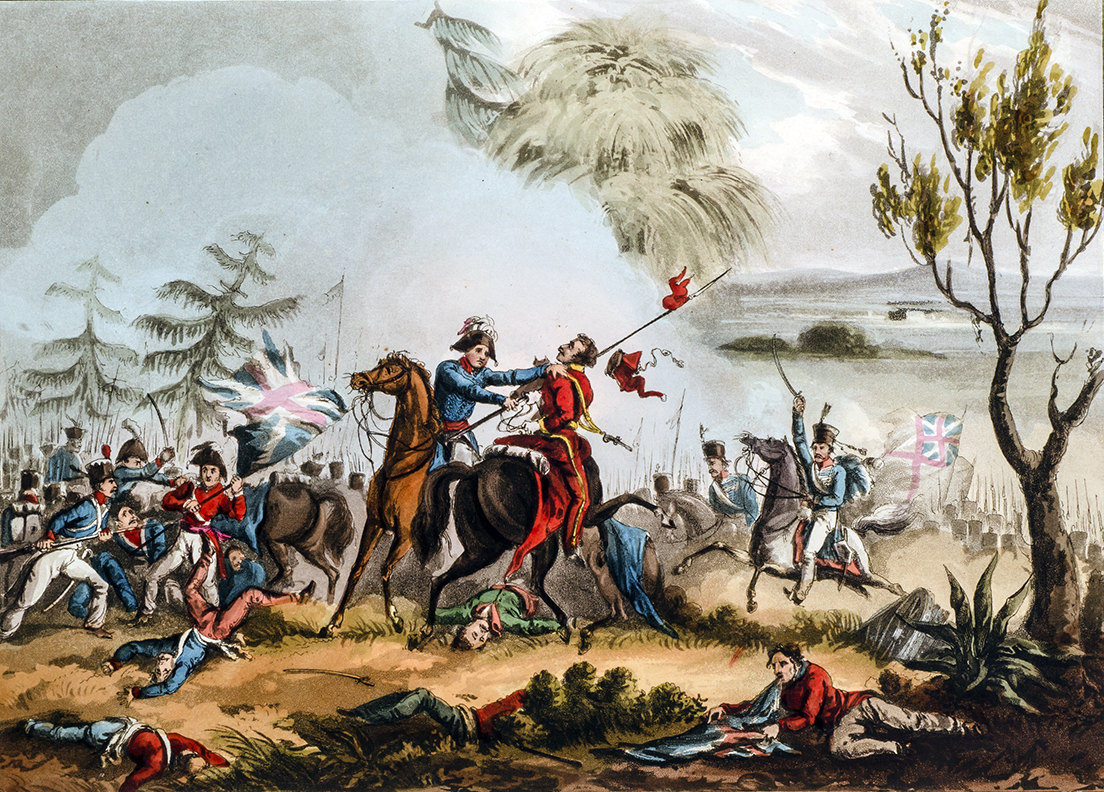 Marshal Beresford disarming a Polish lancer at the Battle of Albuera. Print by T. Sutherland, 1831.