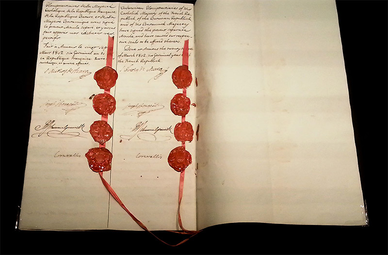 Page of the Treaty with the eight seals and eight signatures of the signatories.