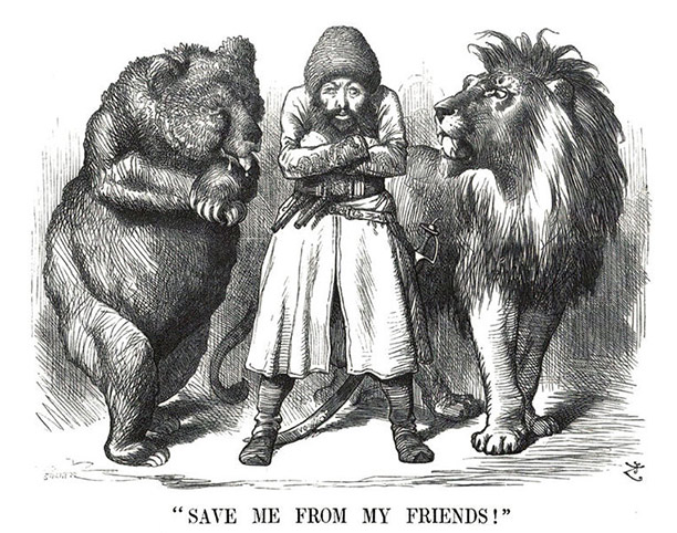 A Punch cartoon of 1878 shows Afghanistan caught between the Russian bear and the British lion.