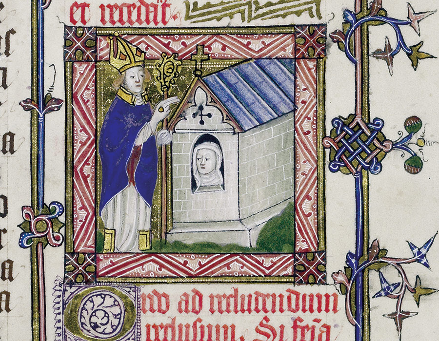 The formal enclosure of an anchoress in her cell by a bishop, from a pontifical produced for Bishop Mona of St David's, 15th century. (Courtesy the Master and Fellows of Corpus Christie College, Cambridge)