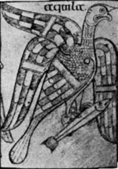 The eagle, symbol of St. John, from the Book of Armagh now in Trinity College, Dublin.