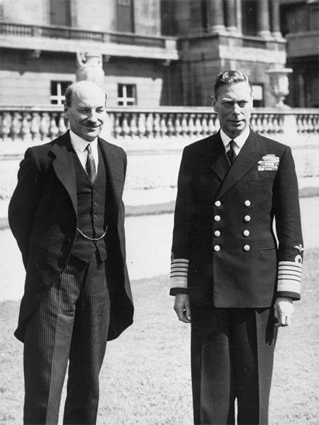 Clement Attlee meeting King George VI after Labour's 1945 election victory.