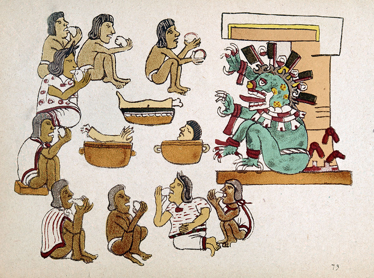 illustration of Aztec cannibalism, from the Codex Magliabechiano, 16th century.