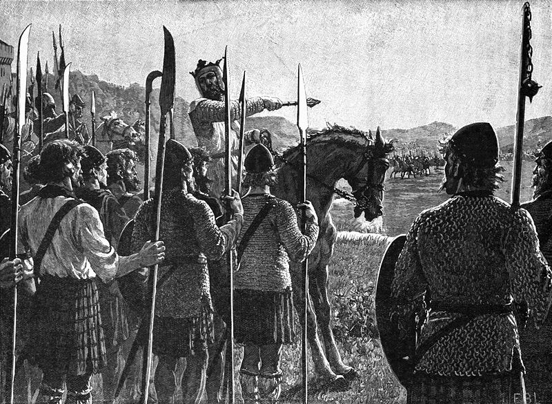 Bruce reviewing troops before the Battle of Bannockburn