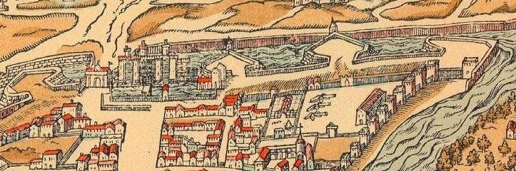 A depiction of the Bastille and neighbouring Paris in 1575.