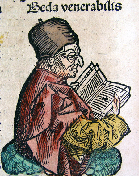 Depiction of the Venerable Bede from the Nuremberg Chronicle, 1493.