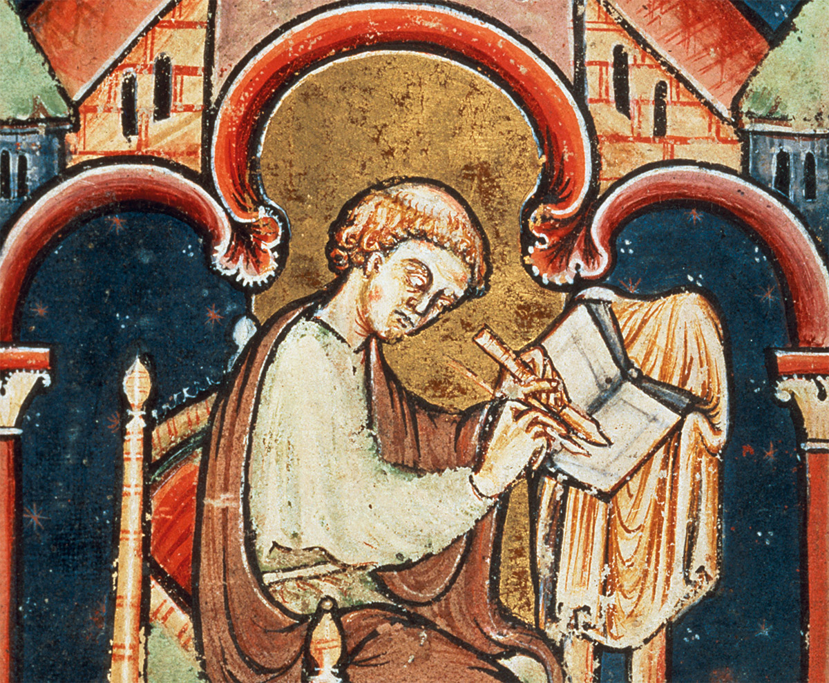 A scribe, probably Bede, from the Life and Miracles of St Cuthbert, English, 12th century.