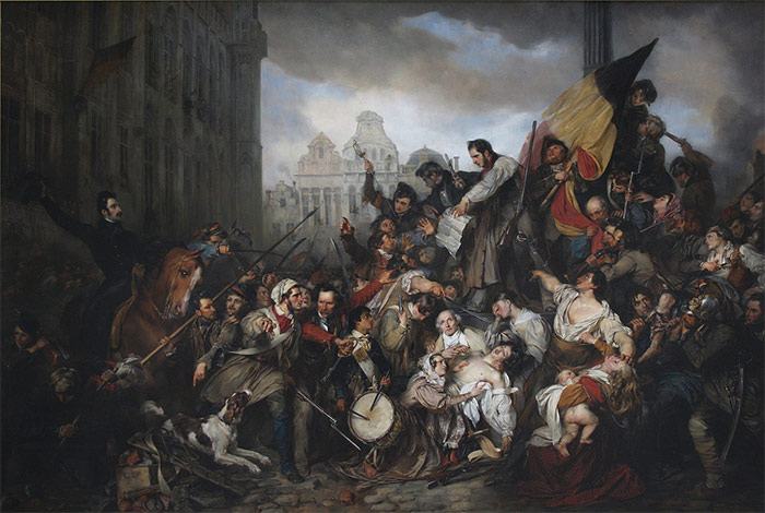 Episode of the Belgian Revolution of 1830, Egide Charles Gustave Wappers (1834), in the Musée d'Art Ancien, Brussels.