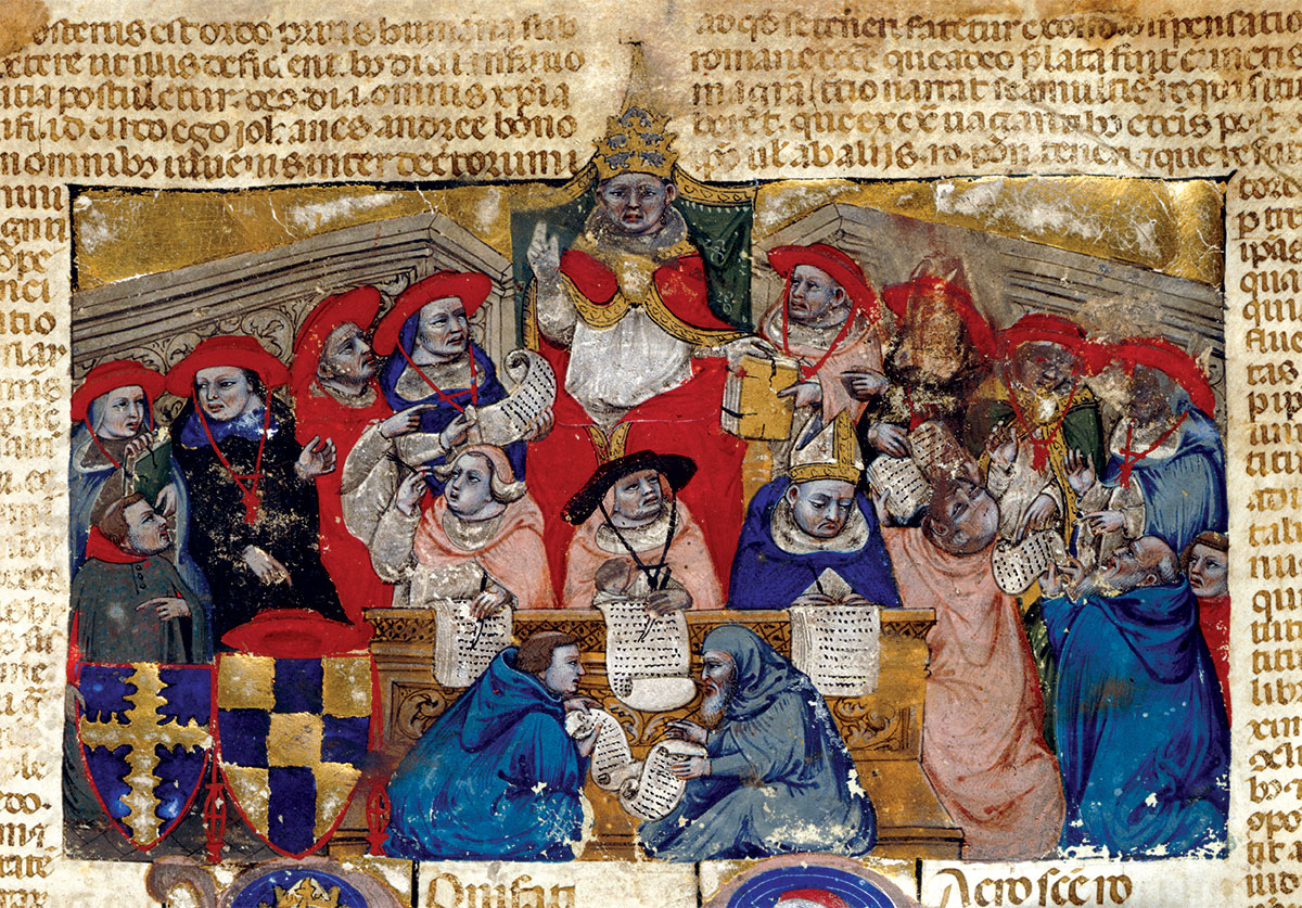 Boniface VIII presiding over the college of cardinals, Italian manuscript, 14th century.