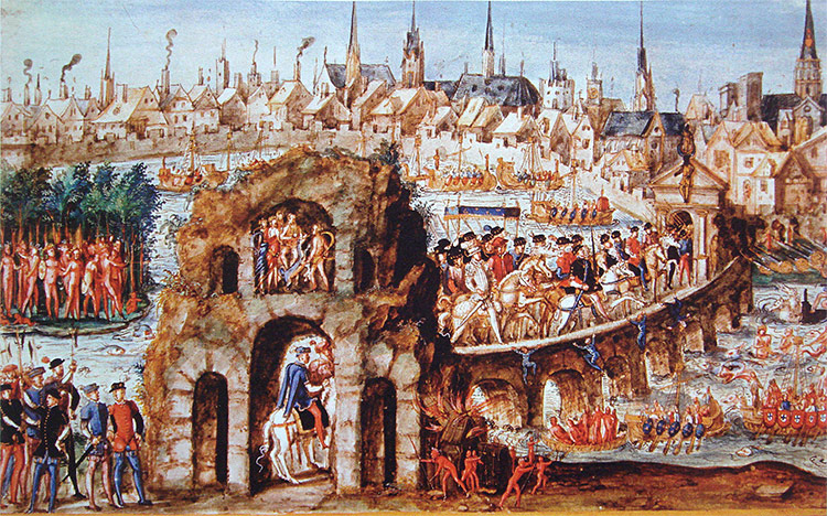 King Henry's formal entry into Rouen in 1550, showing the Brazilians' performance in his honour in the 'jungle' outside the city walls