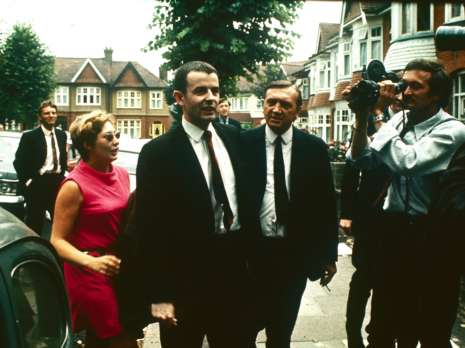Brooke, with his wife, arrives home in North London, 24 July 1969
