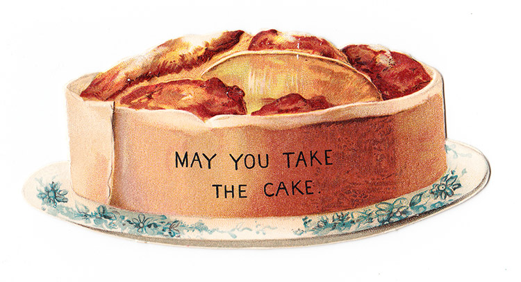 Cutting humour: a Victorian greetings card in the shape of a cake, c.1880.