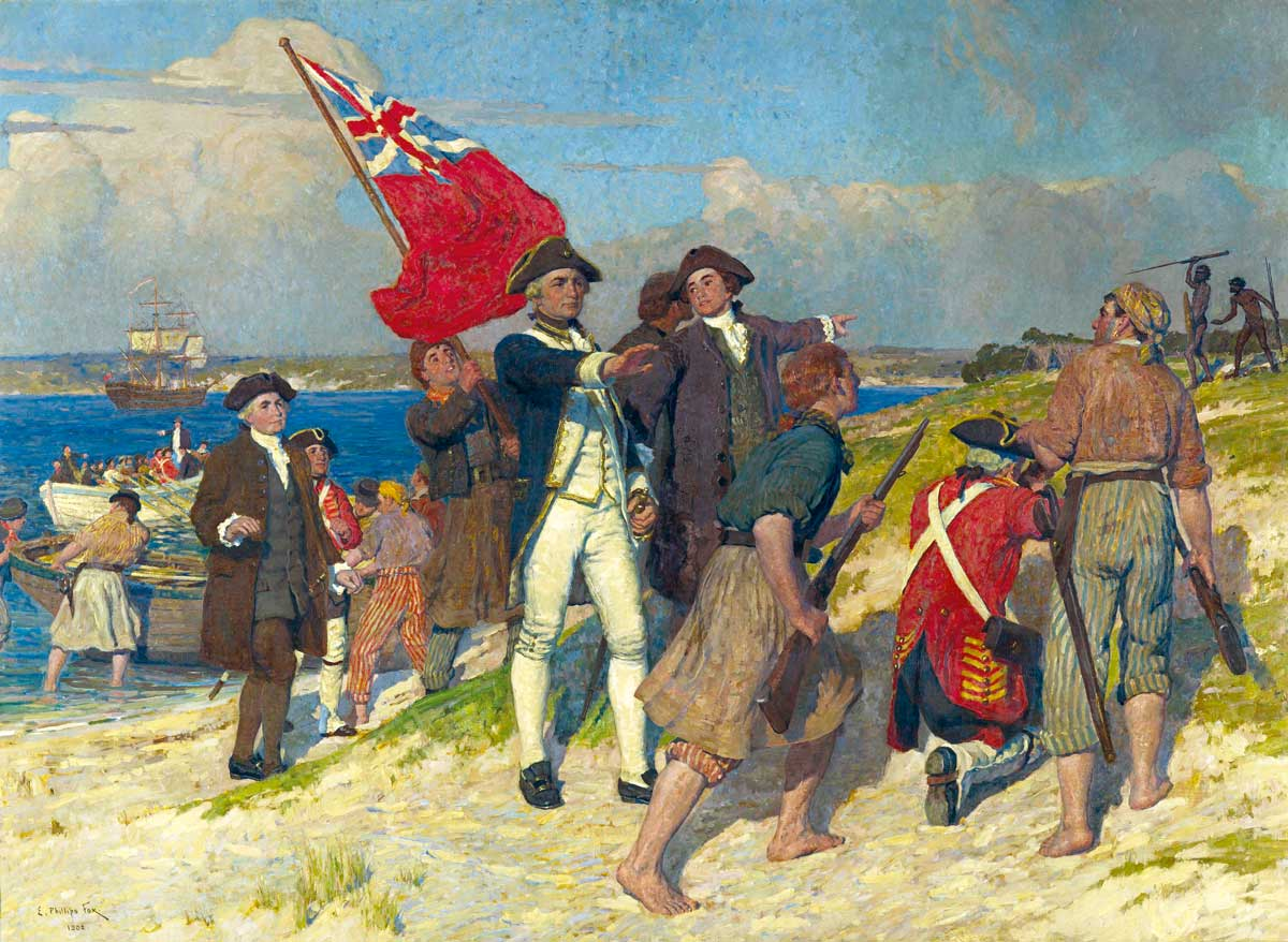 Landing of Captain Cook at Botany Bay, 1770, by E. Phillips Fox, 1902. National Gallery of Victoria, Melbourne. Gilbee Bequest, 1902.