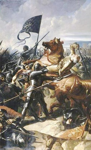 Painting depicting the Battle of Castillon (1453) by the French painter Charles-Philippe Larivière (1798–1876). (Galerie des Batailles, Palace of Versailles). John Talbot, Earl of Shrewsbury is falling from his wounded horse.