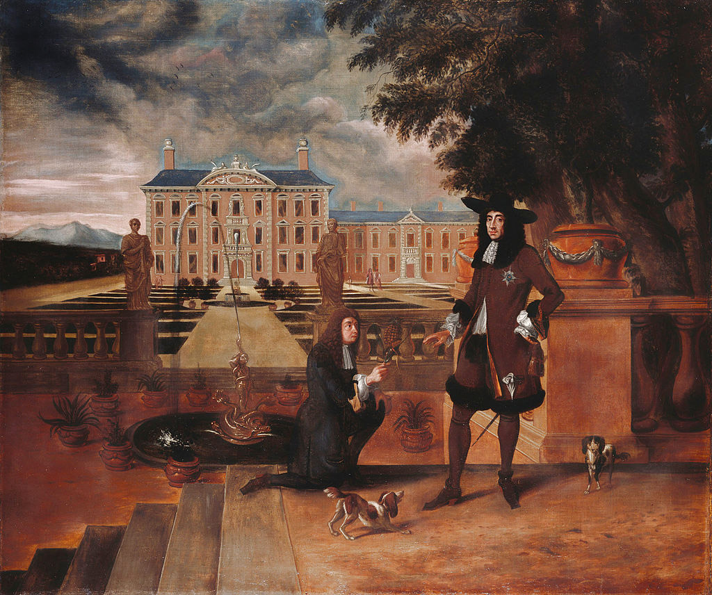 Charles presented with the first pineapple grown in England in 1675, painting by Hendrick Danckerts