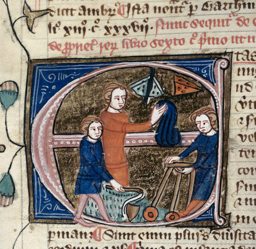 "Miniature for the entry etas ""age"" in the Omne Bonum encyclopedia (London, 14th century, BL Royal MS 6 E vii, fol. 67v) showing children playing with toys and catching butterflies."