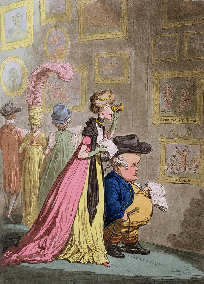 'A Peet at Christie's, or Tally-hop, and his Nimeney-pimmeney Taking the Morning Lounge' by James Gillray, 1796
