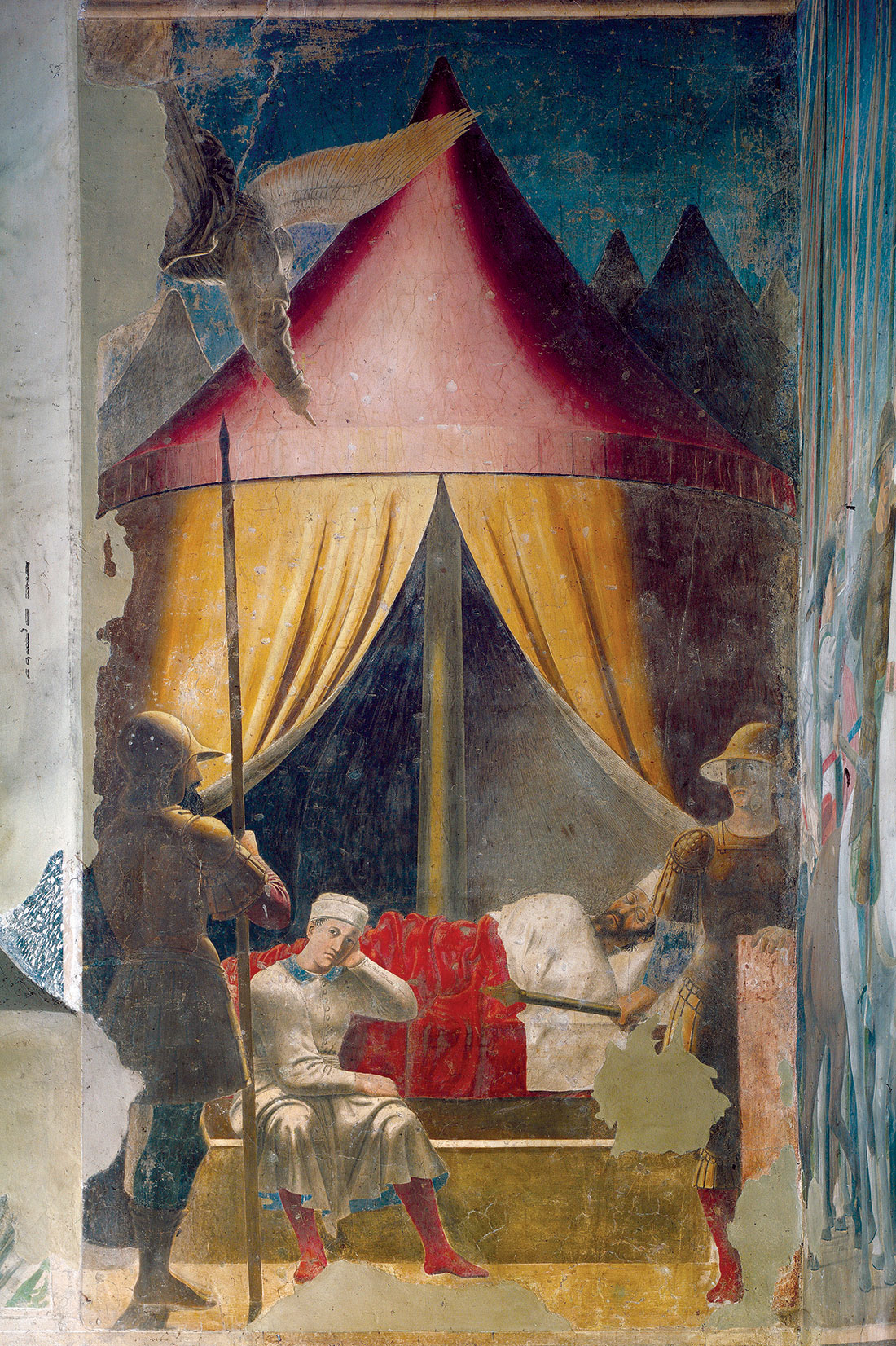 'Constantine's Dream' by Piero della Francesca, from the fresco cycle, the History of the True  Cross, 1459-66, Basilica di San Francesco, Arezzo, Italy.