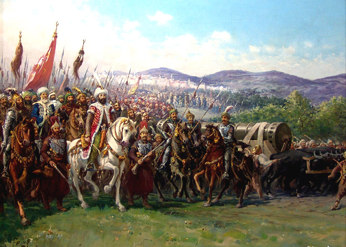 Modern painting of Mehmed and the Ottoman Army approaching Constantinople