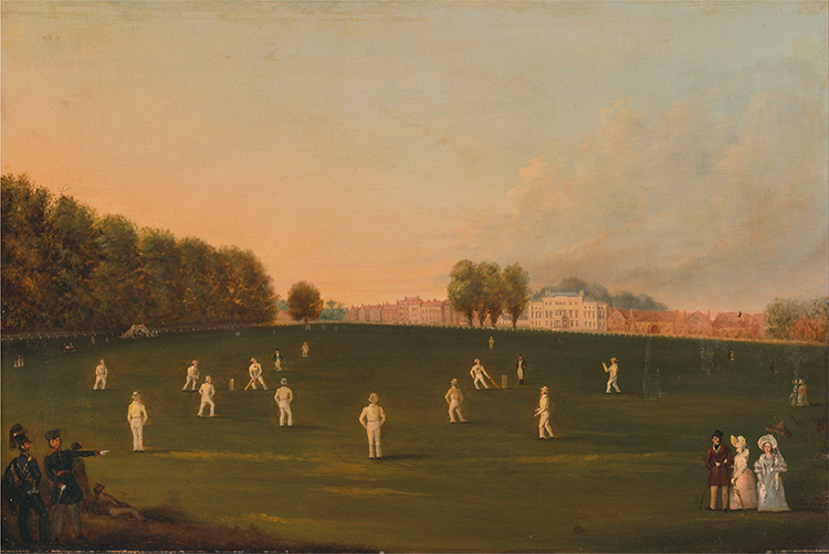 First Grand Match of Cricket Played by Members of the Royal Amateur Society on Hampton Court Green, August 3rd, 1836. (unknown artist)