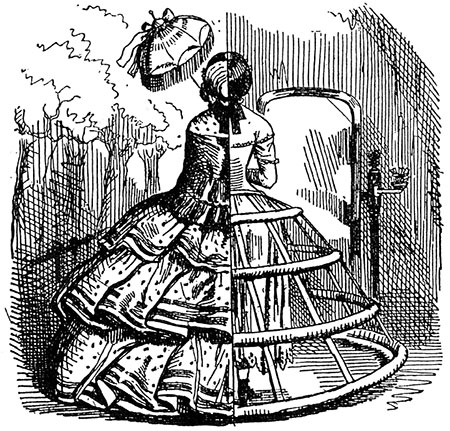 Cutaway view of a crinoline, Punch magazine, August 1856