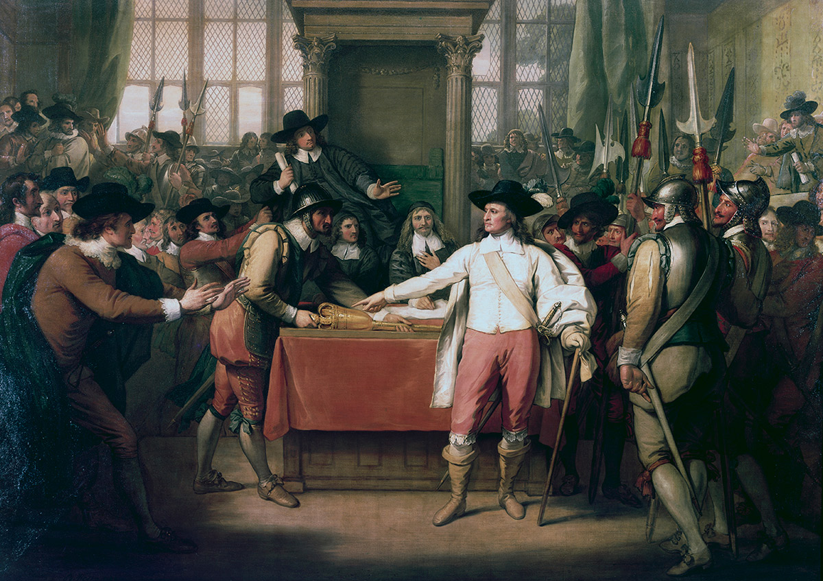 Rise and fall: Cromwell Dissolving the Long Parliament, by Benjamin West (1782).