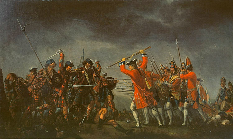 "Battle of Culloden between the Jacobites and the ""Redcoats"""