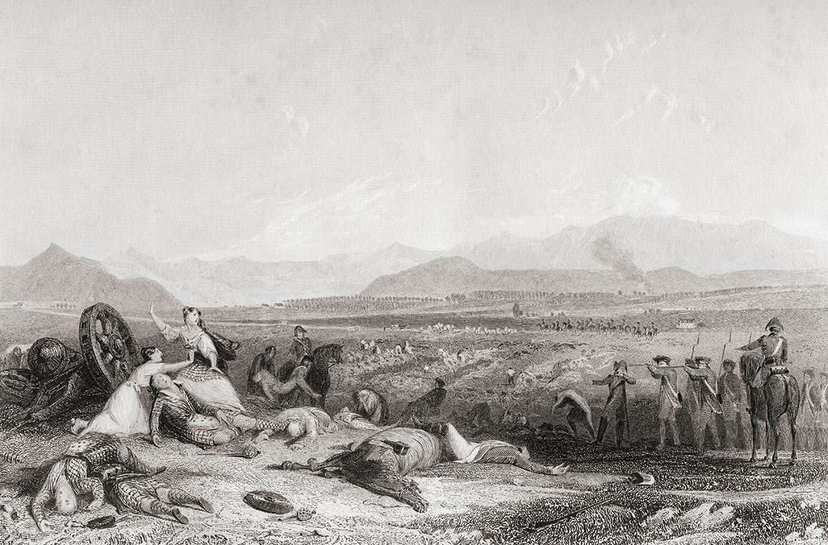 After the battle: Culloden Moor Looking Across the Moray Firth, 1746, engraving by H. Griffiths, c.1830.