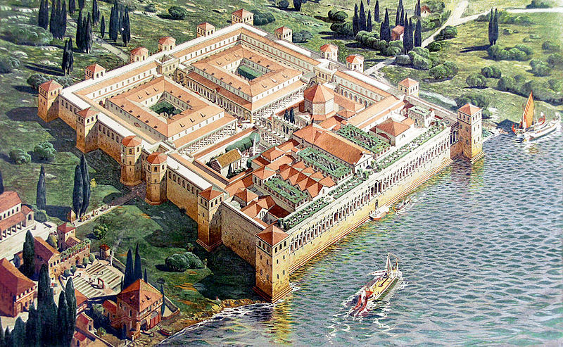 Reconstruction of Diocletian's Palace in its original appearance upon completion in AD 305 (viewed from the south-west)