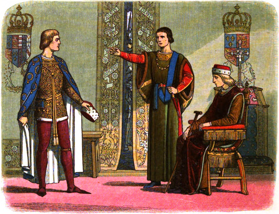 Henry VI (right) sitting while the Dukes of York (left) and Somerset (center) have an argument.