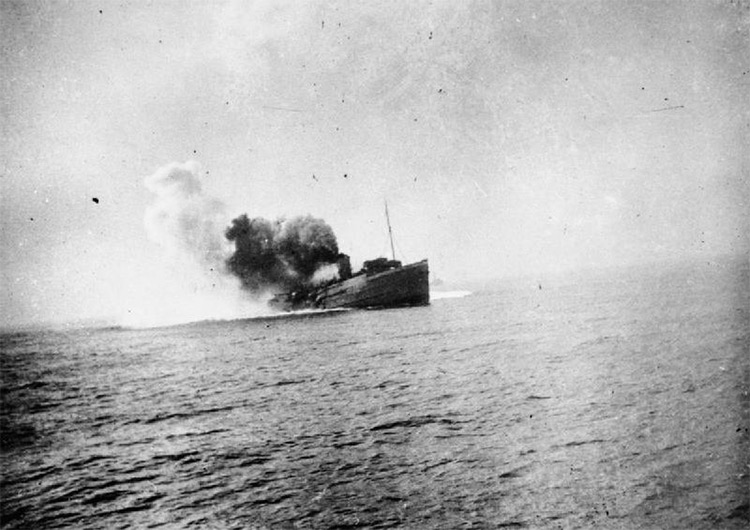 Isle of Man Steam Packet Company vessel Mona's Queen shortly after striking a mine on the approach to Dunkirk. 29 May 1940.