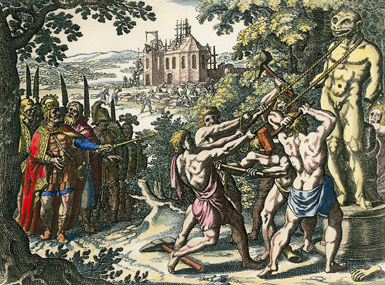 Charlemagne has a statue of the Saxon god Krodo torn down, while a church is built in its place. Engraving by Matthäus Merian the Elder, 1630.