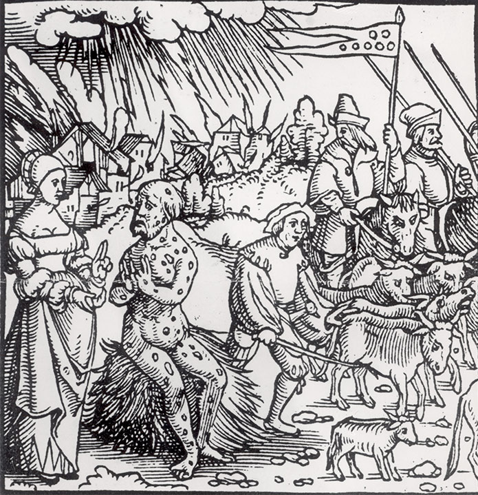 14th-century  English engraving on the Black Death.