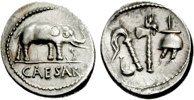 A coin minted in Italy around 49 BC