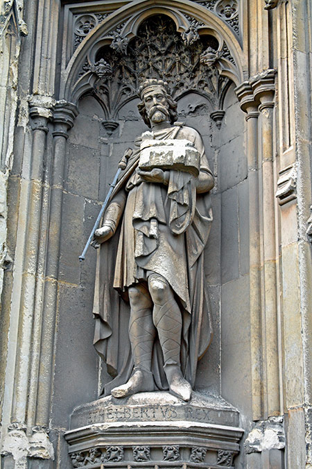 Convert king: statue of Ethelbert at Canterbury Cathedral, Kent