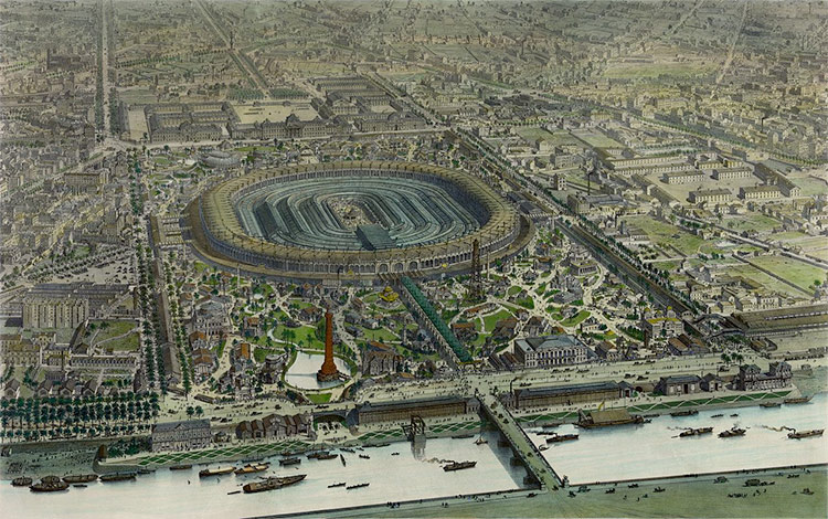 Official bird's-eye view of Exposition Universelle of 1867.