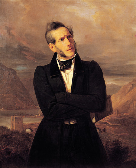 Portrait of Alessandro Manzoni, with Views of Lecco by Giuseppe Molteni and Massimo d'Azeglio, 1835.