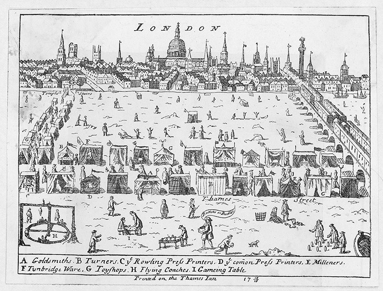 On thin ice: the frost fair on the Thames, 1715-6.