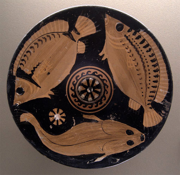 Fresh fish, one of the favourite dishes of the Greeks; platter with red figures, c. 350–325 BC, Louvre.