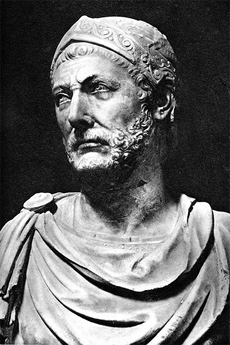 A marble bust, reputedly of Hannibal, originally found at the ancient city-state of Capua in Italy