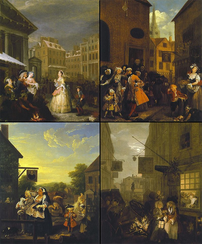 The paintings of Four Times of the Day (clockwise from top left: Morning, Noon, Night, and Evening)