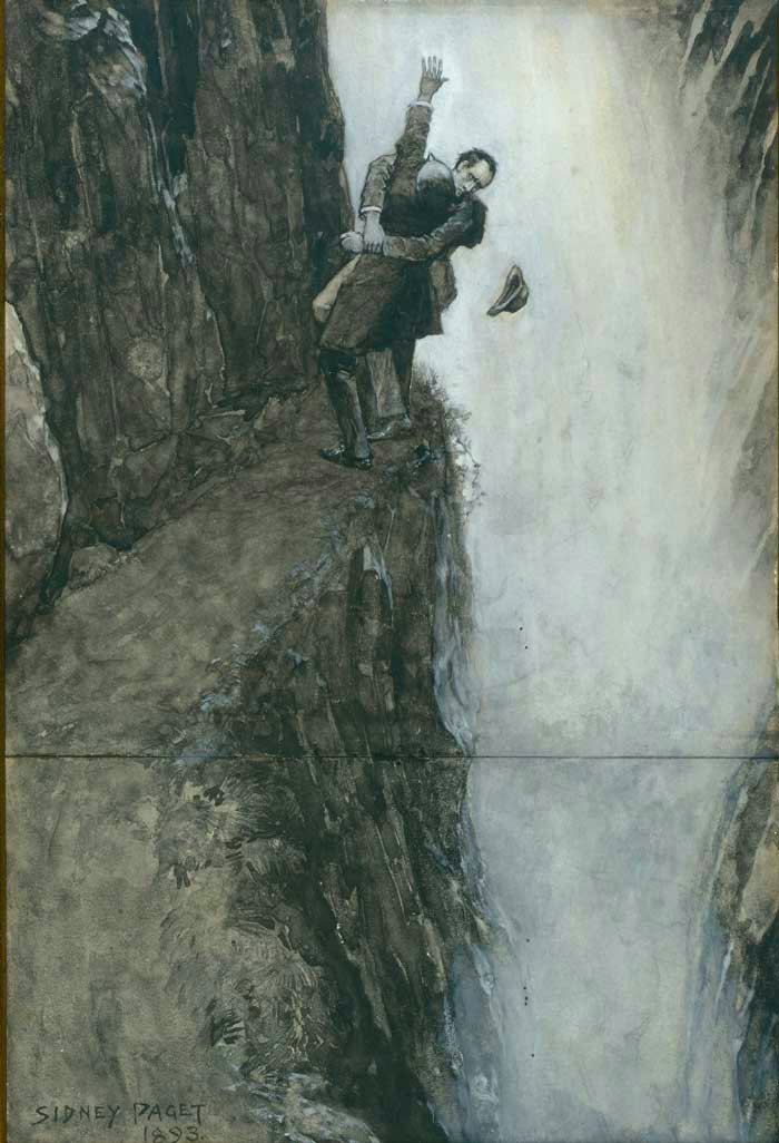 Holmes and Moriarty struggle at the Reichenbach Falls; drawing by Sidney Paget.