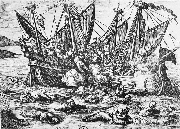 16th-century propaganda print depicting Huguenot aggression against Catholics at sea