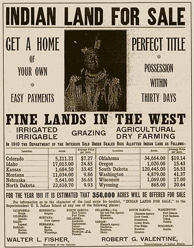 "A 1911 ad offering ""allotted Indian land"" for sale"